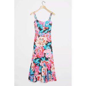 NEW Anthropologie Tina Floral Flounced Midi Dress
